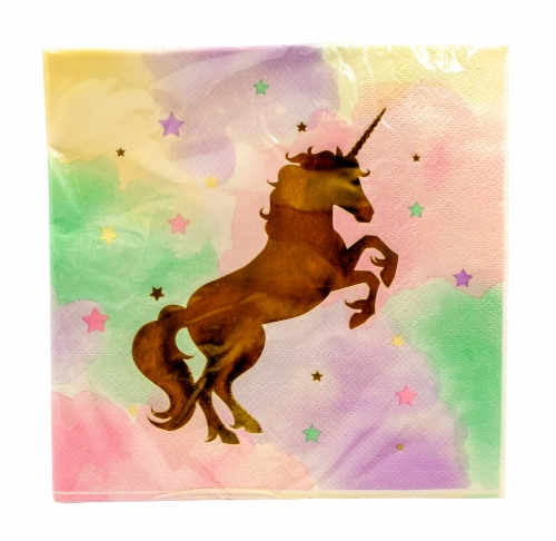 Creative Converting Unicorn Sparkle Foil Stamp Luncheon Napkins Perspective: front