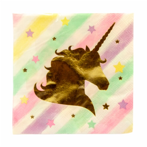 Creative Converting Unicorn Sparkle Foil Stamp Beverage Napkins Perspective: front
