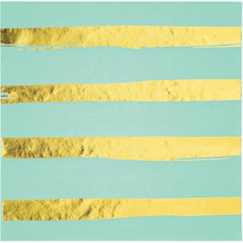 Creative Converting 329948 8.75 x 8.75 in. 3 Ply Foil Striped Paper Napkins, Fresh Mint Green Perspective: front