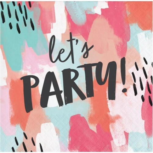 Creative Converting 330007 5 x 5 in. Brush Strokes Lets Party Beverage Paper Napkins, 24 Coun Perspective: front