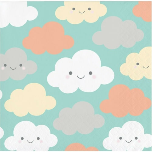James Paul Products Sunshine Baby Shower Beverage Napkins - Happy Clouds Perspective: front