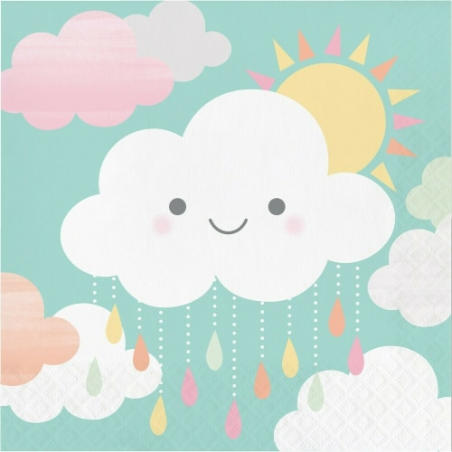 James Paul Products Sunshine Baby Shower Luncheon Napkins - Happy Clouds Perspective: front