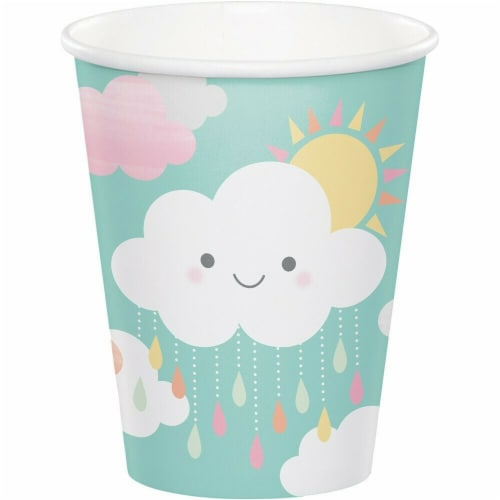 James Paul Products Sunshine Baby Shower Hot & Cold Cups - Happy Clouds Perspective: front