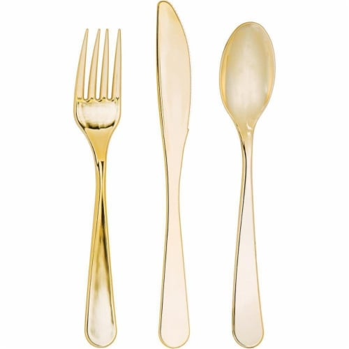 Creative Converting 334398 Metallic Gold Assorted Plastic Cutlery, 24 Count Perspective: front