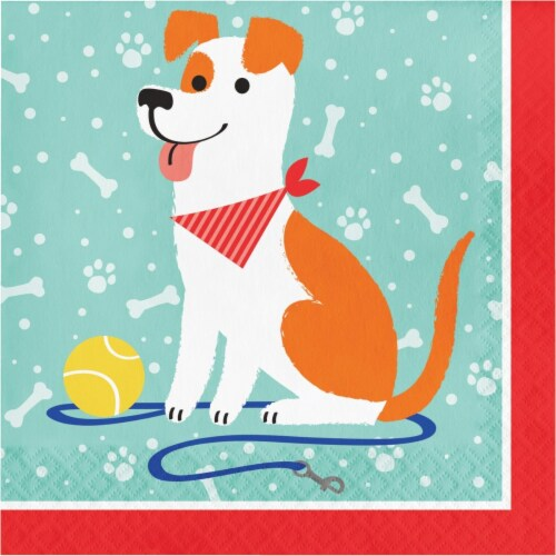 Creative Converting 336046 Dog Party Napkins, 16 Count Perspective: front