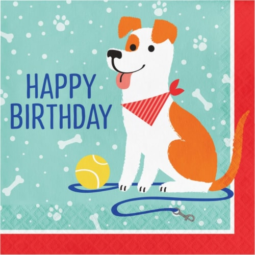 Creative Converting 336047 Dog Party Birthday Napkins, 16 Count Perspective: front