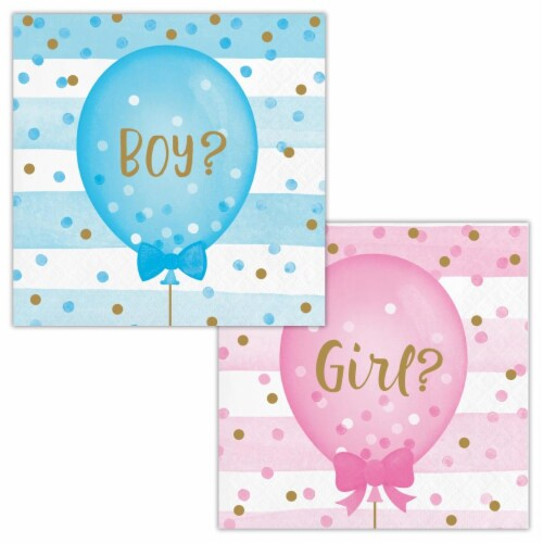Creative Converting 336067 Gender Reveal Balloons Beverage Napkins, 16 Count Perspective: front