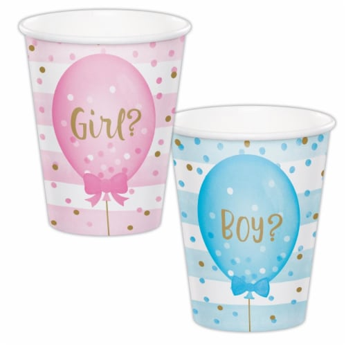 Creative Converting 336068 Gender Reveal Balloons Cups, 8 Count Perspective: front