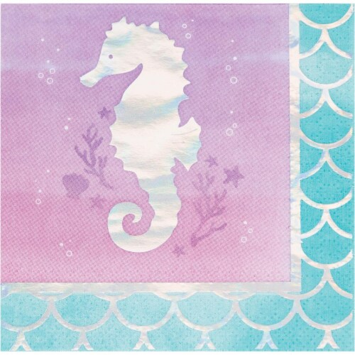 Creative Converting 336708 Iridescent Mermaid Party Beverage Napkins, 16 Count Perspective: front