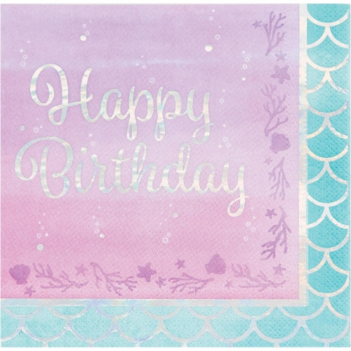 Creative Converting 336716 Iridescent Mermaid Happy Birthday Napkins, 16 Count Perspective: front