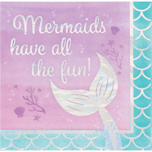 Creative Converting 336717 Iridescent Mermaid All The Fun Napkins, 16 Count Perspective: front