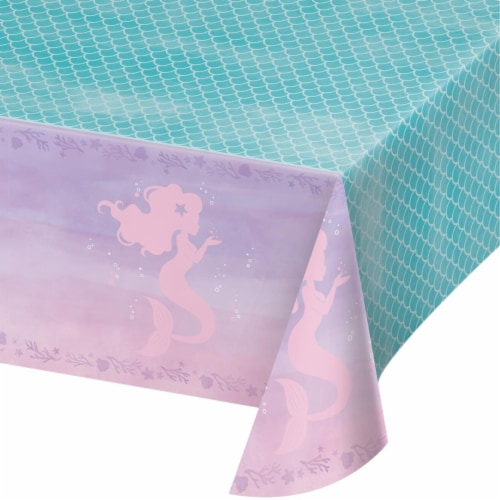 Creative Converting 336720 Iridescent Mermaid Party Plastic Tablecloth Perspective: front