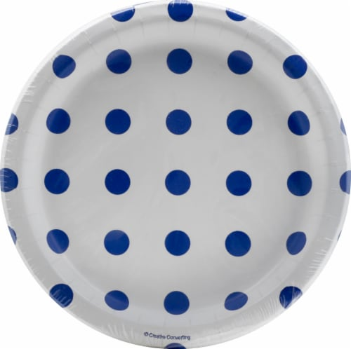 Creative Converting Dots & Stripes Lunch Plates - Cobalt Perspective: front