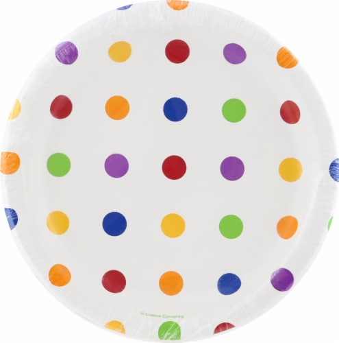 Creative Converting Dots & Stripes Lunch Plates Perspective: front