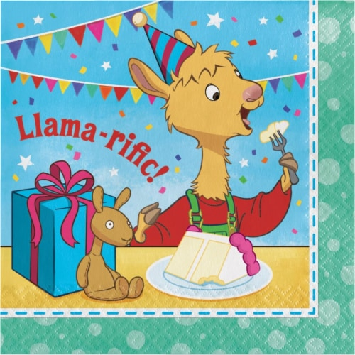 Creative Converting 338716 Llama Happy Birthday Napkins, 16 Count Perspective: front