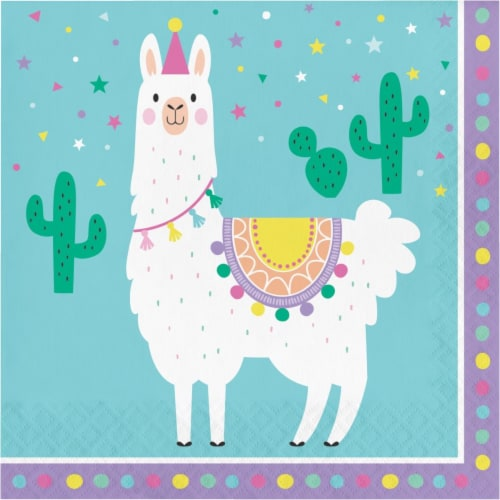 Creative Converting 339579 6.5 in. Llama Party Napkins, 16 Count Perspective: front