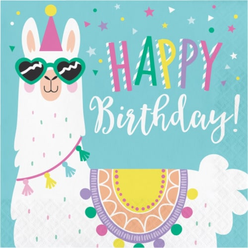 Creative Converting 339580 6.5 in. Llama Party Happy Birthday Napkins, 16 Count Perspective: front