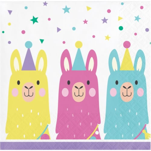Creative Converting 339581 5 in. Llama Party Beverage Napkins, 16 Count Perspective: front