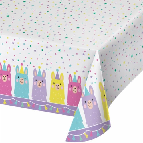 Creative Converting 339587 Llama Party Plastic Tablecloth Perspective: front