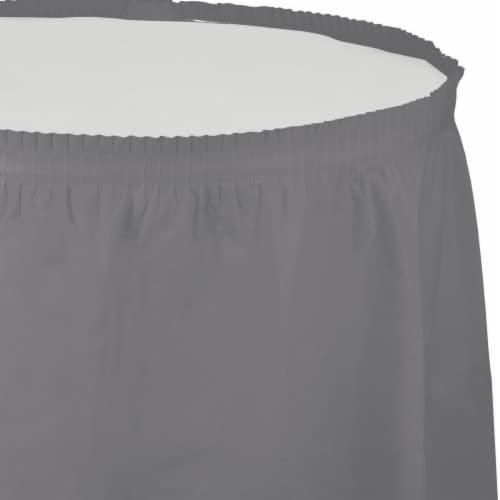 Creative Converting 339643 Glamour Gray Table Skirt Perspective: front