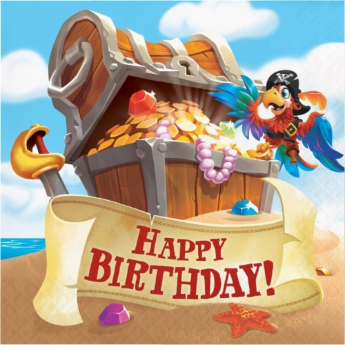 Creative Converting 339781 Treasure Island Pirate Happy Birthday Napkins, 16 Count Perspective: front