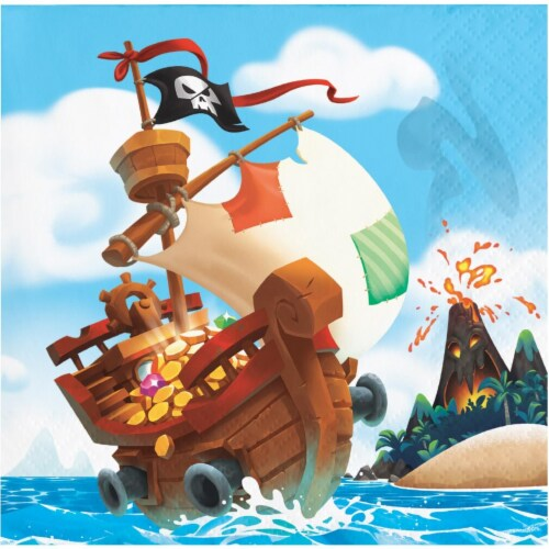 Creative Converting 339782 Treasure Island Pirate Beverage Napkins, 16 Count Perspective: front