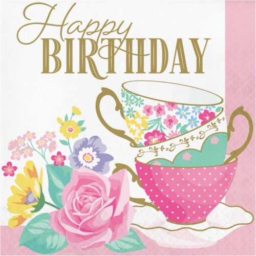 Creative Converting 339799 Floral Tea Party Happy Birthday Napkins, 16 Count Perspective: front