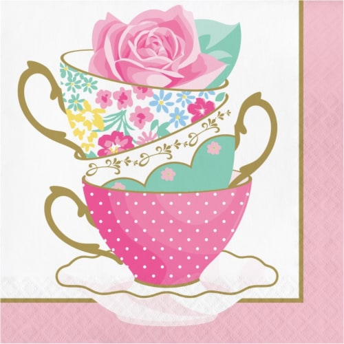 Creative Converting 339800 Floral Tea Party Teacup Napkins, 16 Count Perspective: front