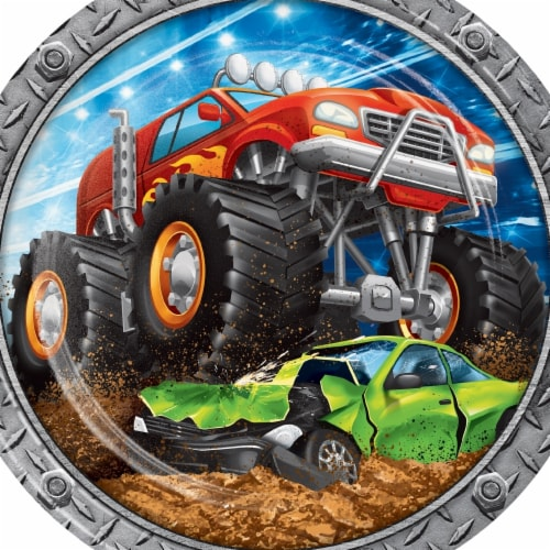 Creative Converting 339802 Monster Truck Paper Plates, 8 Count Perspective: front