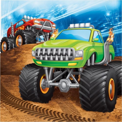 Creative Converting 339804 Monster Truck Napkins, 16 Count Perspective: front
