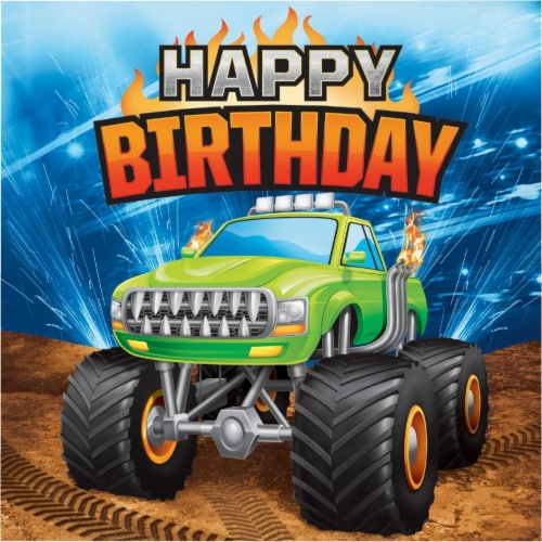 Creative Converting 339805 Monster Truck Happy Birthday Napkins, 16 Count Perspective: front
