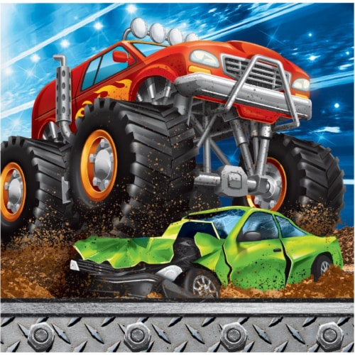 Creative Converting 339806 Monster Truck Beverage Napkins, 16 Count Perspective: front