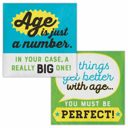 Creative Converting 339860 Old Age Humor Age is Just a Number Beverage Napkins, 16 Count Perspective: front