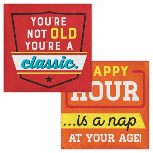 Creative Converting 339861 Old Age Humor You Are A Classic Beverage Napkins, 16 Count Perspective: front