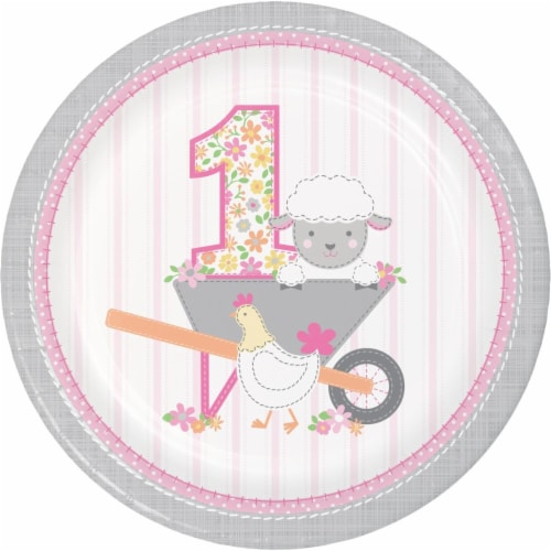 Creative Converting 339862 Farmhouse 1st Birthday Girl Paper Plates, 8 Count Perspective: front