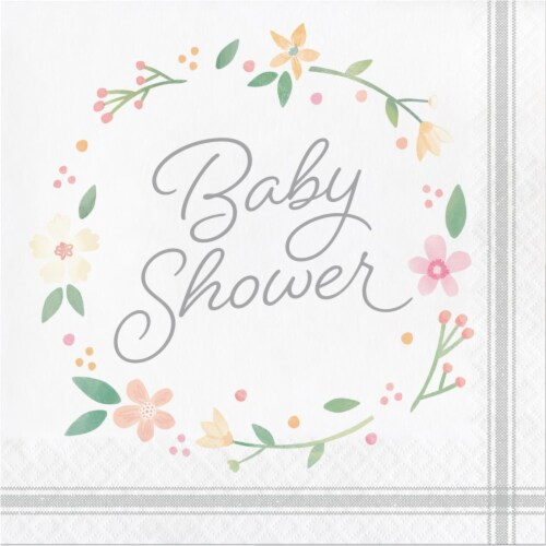 Creative Converting 339876 Country Floral Baby Shower Bottle Napkins, 16 Count Perspective: front