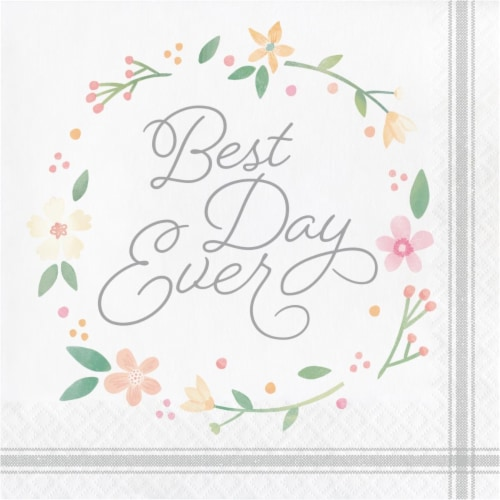 Creative Converting 339877 Country Floral Best Day Ever Napkins, 16 Count Perspective: front