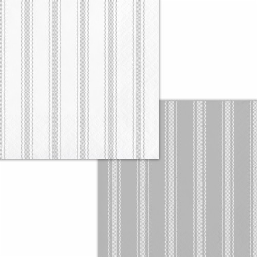 Creative Converting 339882 Gray Ticking Stripe Beverage Napkins, 16 Count Perspective: front