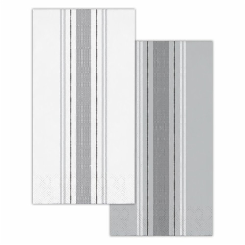 Creative Converting 339883 Gray Ticking Stripe Dinner Napkins, 16 Count Perspective: front