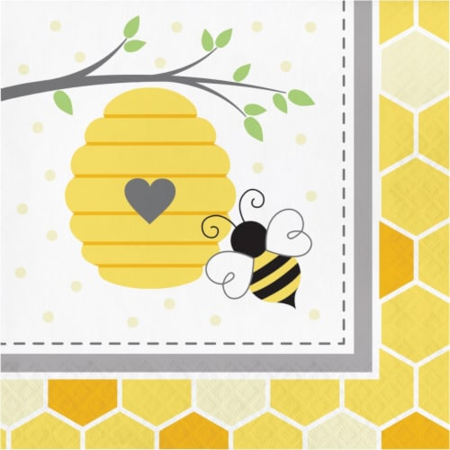 Creative Converting 339888 Bumblebee Baby Shower Napkins, 16 Count Perspective: front