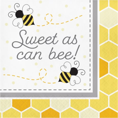 Creative Converting 339889 Bumblebee Baby Shower Sweet As Can Be Napkins, 16 Count Perspective: front
