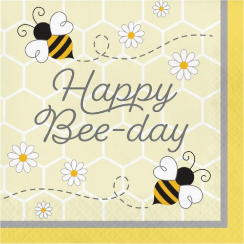 Creative Converting 339890 Bumblebee Baby Happy Birthday Napkins, 16 Count Perspective: front