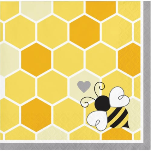 Creative Converting 339891 Bumblebee Baby Shower Beverage Napkins, 16 Count Perspective: front