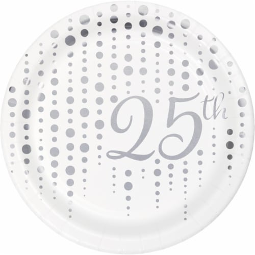 Creative Converting 339892 Silver 25th Anniversary Dessert Plates, 8 Count Perspective: front