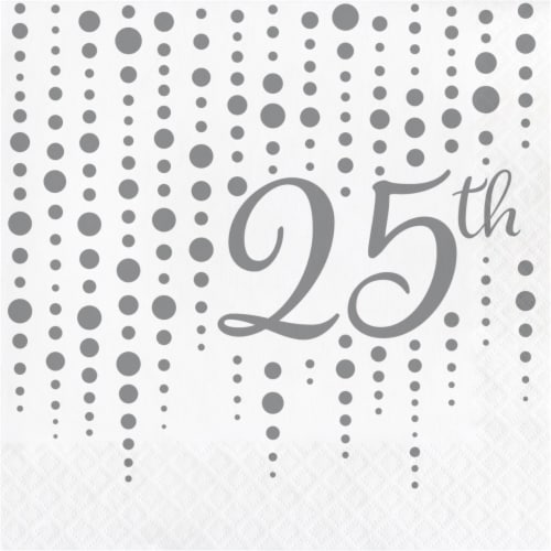Creative Converting 339893 Silver 25th Anniversary Napkins, 16 Count Perspective: front