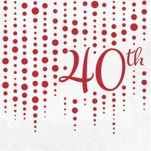 Creative Converting 339897 Ruby 40th Anniversary Napkins, 16 Count Perspective: front