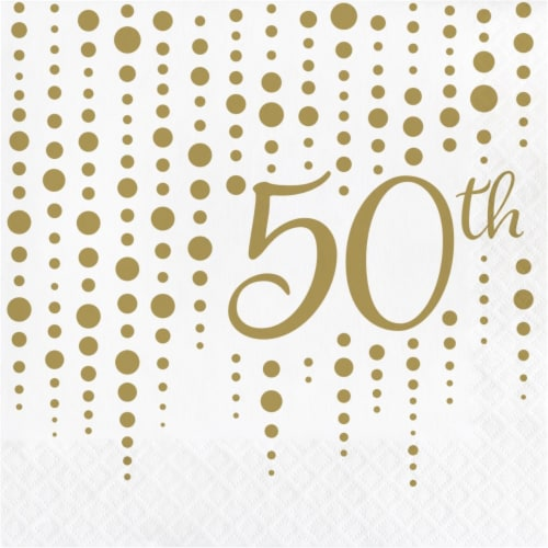 Creative Converting 339901 Gold 50th Anniversary Napkins, 16 Count Perspective: front