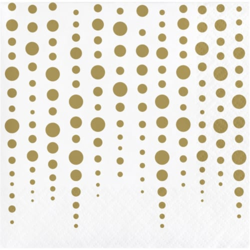 Creative Converting 339902 Gold 50th Anniversary Beverage Napkins, 16 Count Perspective: front