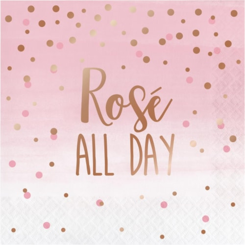 Creative Converting 340162 Rose All Day Napkins, 16 Count Perspective: front