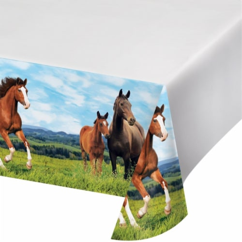 Creative Converting 340207 Wild Horse Plastic Tablecloth Perspective: front